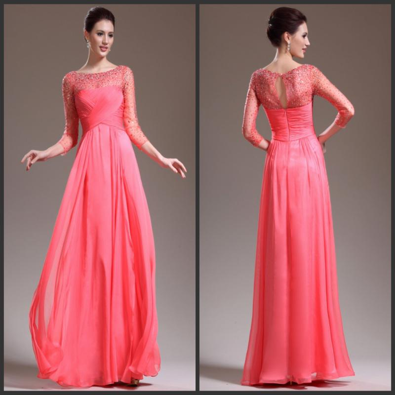 2013 Crystal Beaded Chiffon Evening Dress Elegant Mother Of The