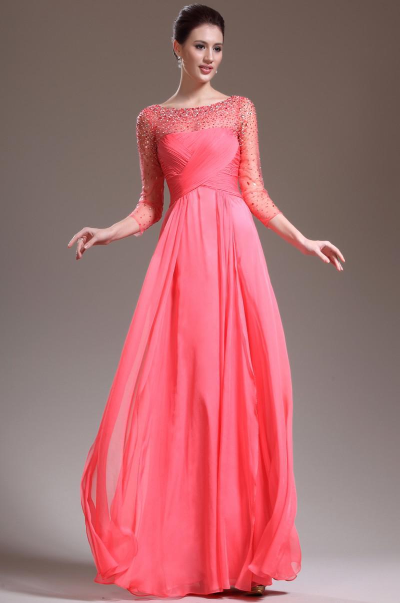 2013 cristal perlée robe de soirée en mousseline de soie élégante mère de la robe de mariée robe de bal longue avec manches