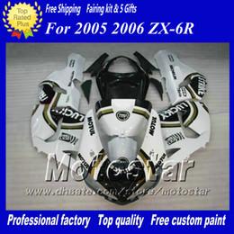 Benutzerdefinierte rennverkleidungen online-Verkleidungskörper Kit für Kawasaki Ninja ZX-6R 2005 2006 ZX6R 05 06 ZX 6R weiß schwarz Lucky Strike Custom Racing Verkleidungssatz ac28
