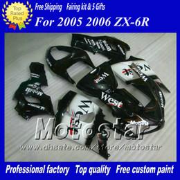 Benutzerdefinierte rennverkleidungen online-7Gifts Verkleidungen Bodykit für Kawasaki Ninja ZX-6R 2005 2006 ZX6R 05 06 ZX 6R schwarz weiß West Custom Racing Verkleidungssatz ac31