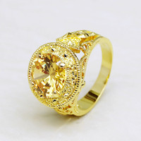 Wholesale Yellow Gold Solitaire Ring Setting - Size 9 10 11 Men's 10ct Solitaire Yellow Topaz 18K Yellow Gold Filled Gemstone Ring