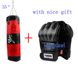 Wholesale Empty Gift Bag - Free Gift! New 60Lb 35'' Fitness Training Unfilled Boxing Punching Bag Punch Bag (Empty) With Boxing Gloves Black Free Shipping