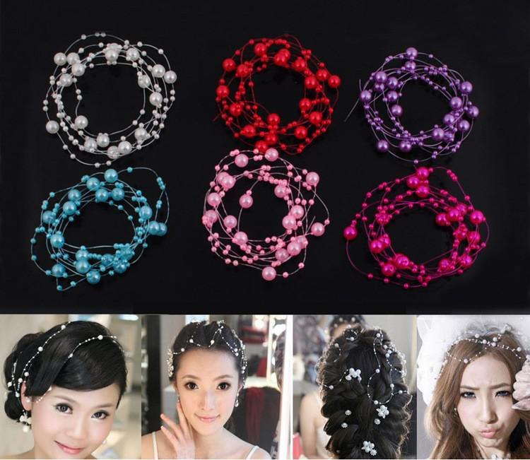 8mm3mm Rosa Quente / Branco / Marfim Pérola Beads Garland Casamento Peça Central Decoração Artesanato DIY