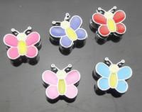 ingrosso scivolo farfalla per braccialetto-100pcs / lot 8mm colori della miscela fascini dello scorrevole della farfalla misura per 8mm braccialetti di modo del braccialetto di DIY DIY