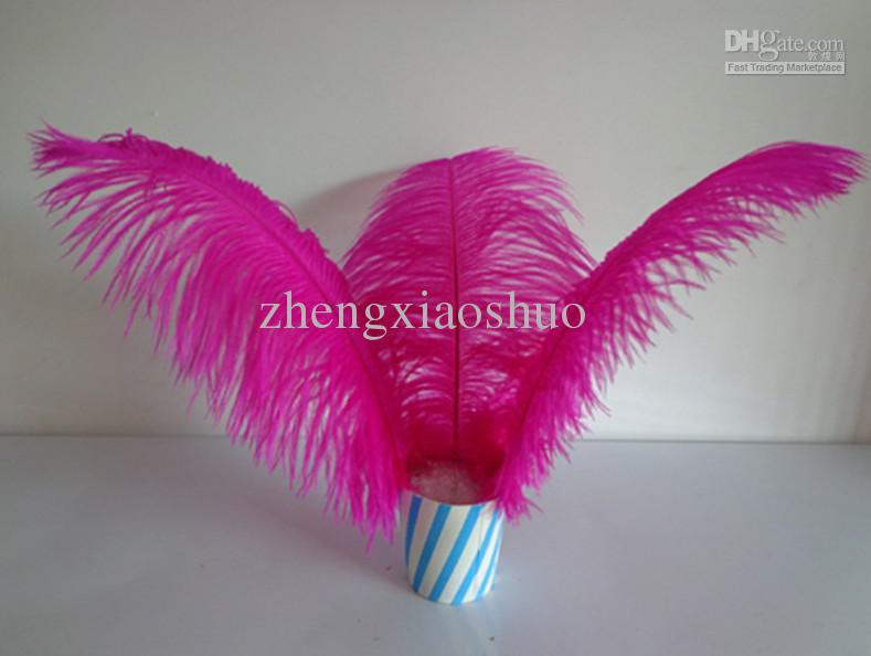 Atacado 100 pçs / lote 12-14 polegada hot pink Fuchsia Avestruz Plume Pena mesa de casamento peça central da festa de casamento fornecimento de eventos