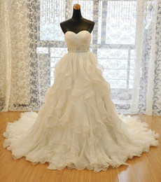 Wholesale Wedding Dress Lace Portrait Neckline - 2016 New Strapless Sweetheart neckline Luxury Ruffles Organza Wedding Dresses Bridal gowns crystal Beading Ball gown