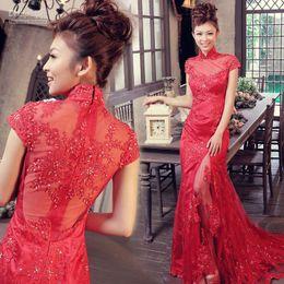 Wholesale Model Dress Cheongsam - The door of the bride New latest red Chinese cheongsam lace wedding trailing wedding dress toast se