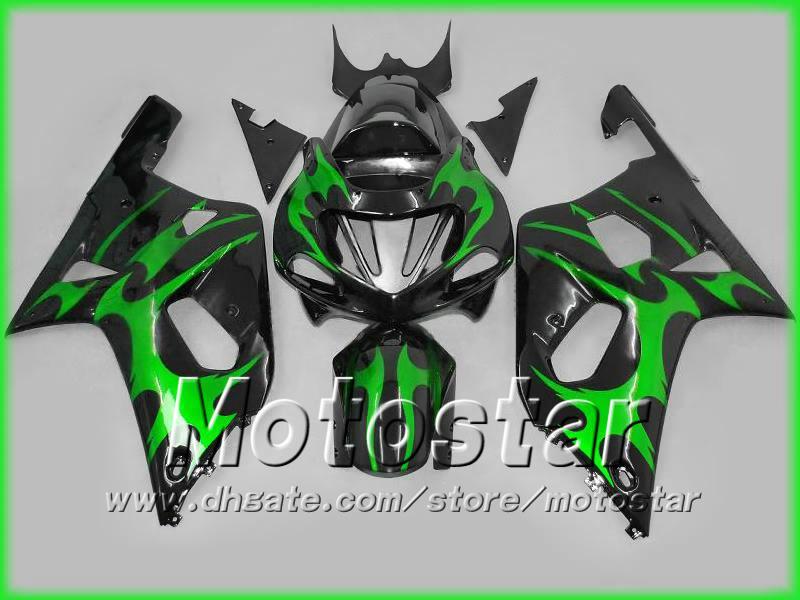 Green black fairing kit for SUZUKI GSXR 600 750 K1 GSXR600 01 02 03 GSX-R750 body GSX-R600 2001 2002 2003