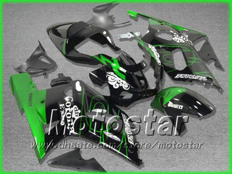 Darmowa Wysyłka Czarny Zielony Zestaw Fooding dla Suzuki GSXR 600 750 K1 2001 2002 2003 GSXR600 GSXR750 01 02 03 GSX-R600 R750