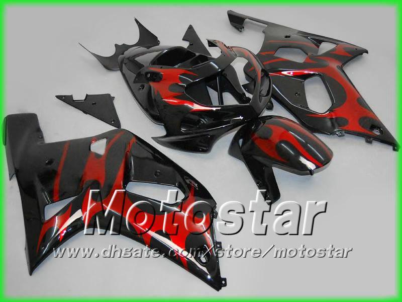 Red flame ABS fairing kit for SUZUKI GSXR 600 750 K1 GSXR600 GSXR750 01 02 03 R600 R750 2001 2002 2003 body fairings