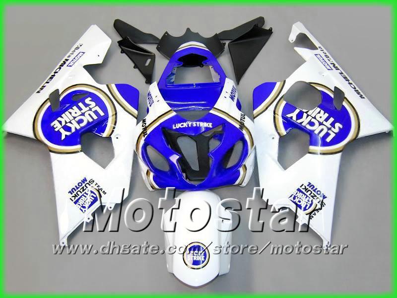 Vit Blue Lucky Strike Bodywork Fairing Kit för Suzuki GSXR 600 750 K4 2004 2005 GSXR600 GSXR750 04 05 R600 R750 Fairings
