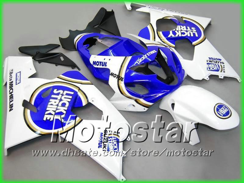 Biały Blue Lucky Strike Bodywork Zestaw Foreloring dla Suzuki GSXR 600 750 K4 2004 2005 GSXR600 GSXR750 04 05 R600 R750 Owalnia
