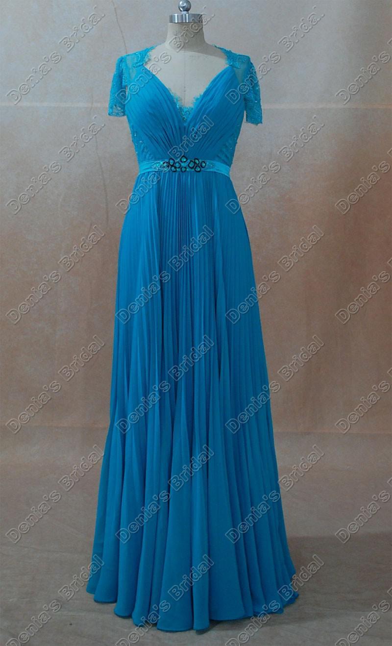 Celebrity Robes Kate Middleton Bleu Vert réel des images réelles Une ligne col en V manches Cap Sheer dentelle perlée ruban Kate Robes