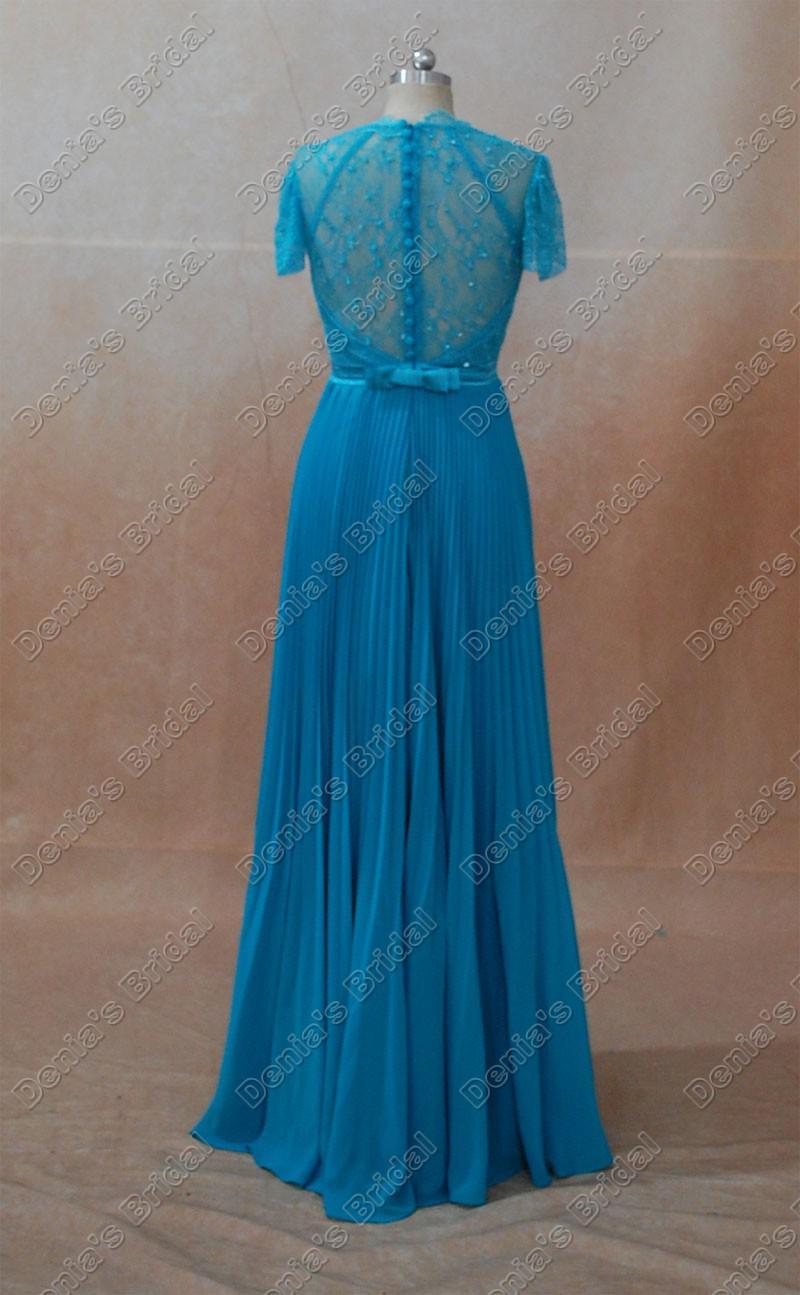 Celebrity Jurken Kate Middleton Blauw Groene Kleur Echte echte beelden Een lijn V-hals Cap Mouwen Sheer Kant Beaded Lint Kate Jurken
