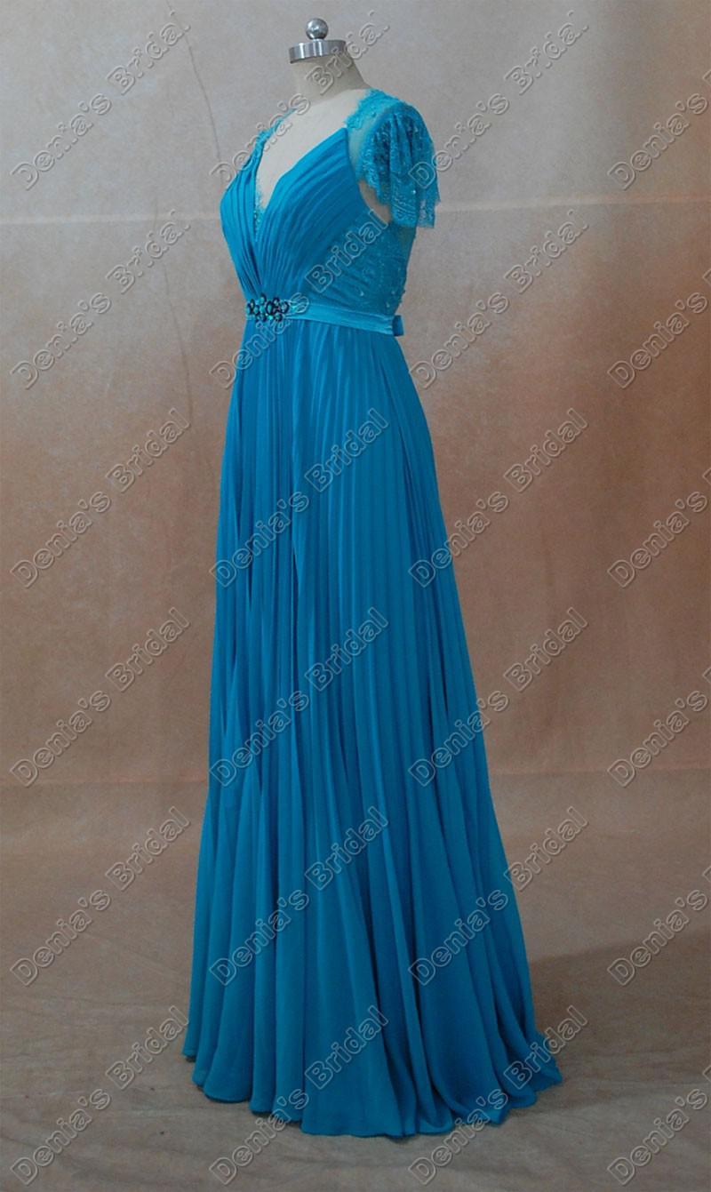 Promi-Kleider Kate Middleton Blau Grün Echt Tatsächliche Bilder A-Linie mit V-Ausschnitt-Kappen-Hülsen bloße Spitze wulstige Band Kate Kleider