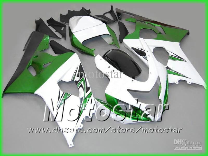 Gröna Vit Fairings för Suzuki 2004 2005 GSXR 600 750 K4 GSXR600 GSXR750 04 05 R600 R750 Road Racing Aftermarket Fairing