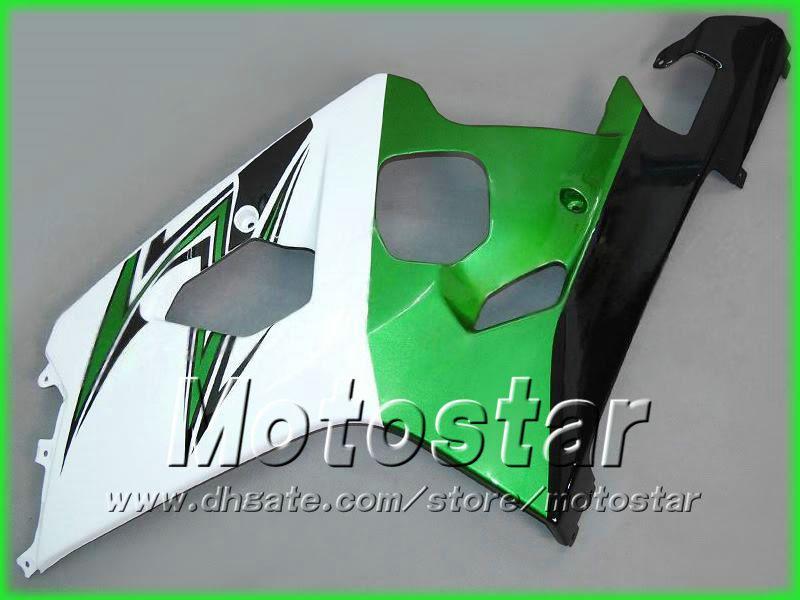 Green white carenagens para suzuki 2004 2005 GSXR 600 750 K4 GSXR600 GSXR750 04 05 R600 R750 corridas aftermarket carenagem