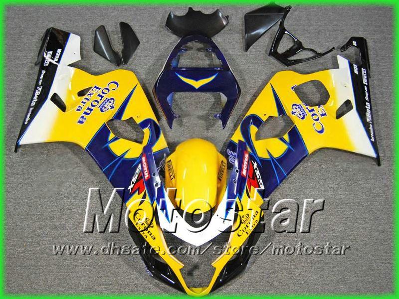 Kits de carénage corona jaunes pour suzuki 2004 2005 GSXR 600 750 K4 GSXR600 GSXR750 04-05 R600 R750 2004 2005 carénages Par EMS