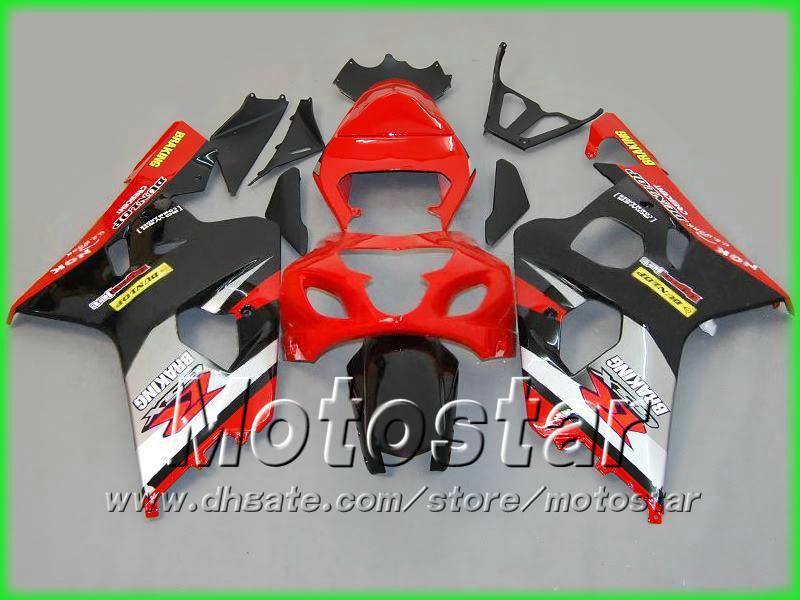 Red black silver fairing kit FOR GSXR 600 750 2004 2005 K4 GSXR600 GSXR750 04 05 R600 R750 bodywork