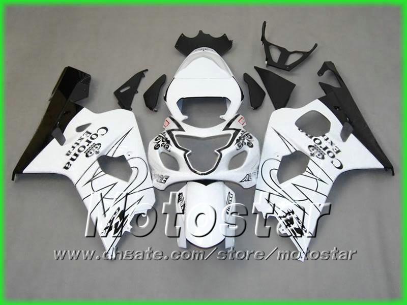 ブラックホワイトコロナAlstare Fairings Kit 2004 2005 GSXR 600 750 K4 GSXR600 GSXR750 04 05 R600 R750フェアリングキット5ギフト
