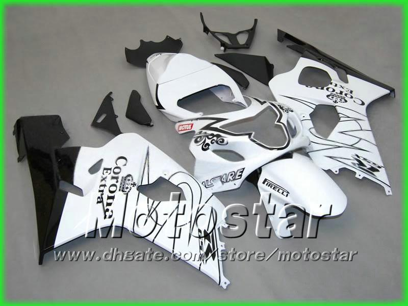 Black White Corona Alstare Backings Kit voor 2004 2005 GSXR 600 750 K4 GSXR600 GSXR750 04 05 R600 R750 Fairing Kit 5 Geschenk