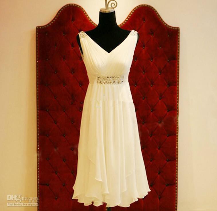 Ruching Wedding Gowns: Discount New Simple Ruching Chiffon V Neck Wedding Dresses