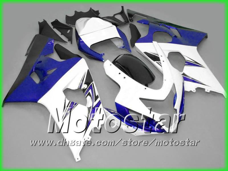 Blue White Fairings Bodywork Kit för Suzuki 2004 2005 GSXR 600 750 K4 GSXR600 GSXR750 04 05 R600 R750 Kroppsreparation ABS Fairings