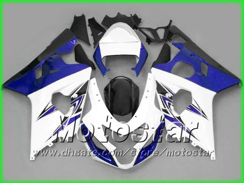 Free shipping Blue white fairings bodywork kit FOR SUZUKI 2004 2005 GSXR 600 750 K4 GSXR600 GSXR750 04 05 R600 R750 fairings