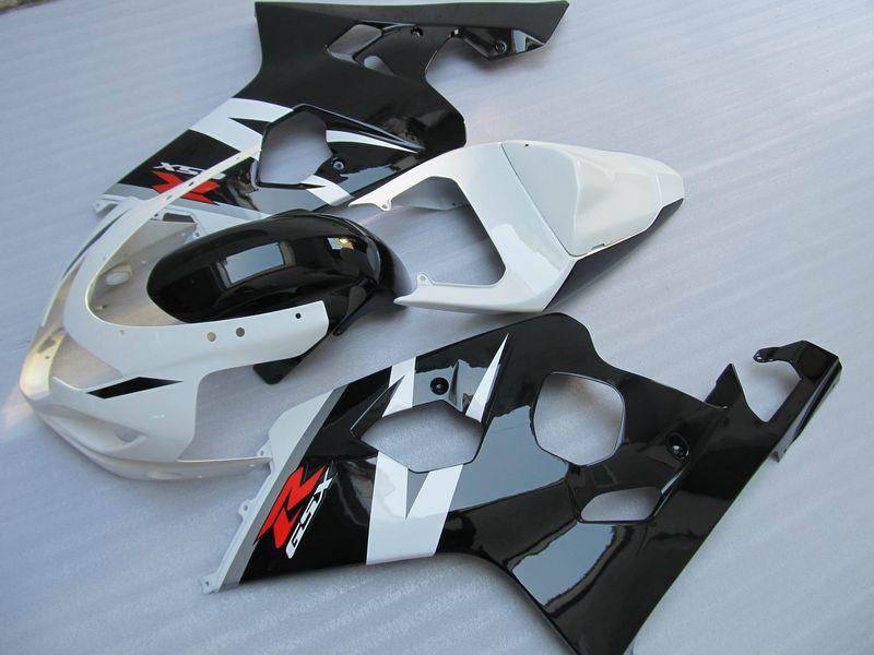 5 regalos Negro blanco kit de carenado completo PARA Suzuki GSXR 600 750 K4 2004 2005 GSXR600 GSXR750 04 05 R600 R750 2004-2005