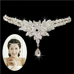 Wholesale Indian Tiaras - 2015 Hot Selling Shining Bridal Crystal Veil Tiara Crown Headband Wedding Jewelry Set Free Shipping