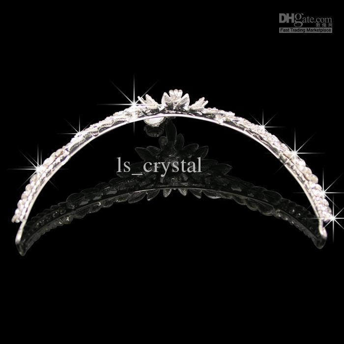 2015 Hot Selling Shining Bridal Crystal Veil Tiara Crown Headband Bröllop Smycken Ange gratis frakt