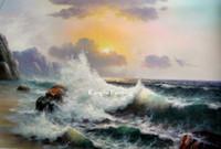 pintura a óleo da onda do oceano venda por atacado-100% pintado à mão de alta qualidade lona oceano ondas seascape pintura a óleo fotos na parede SEA167
