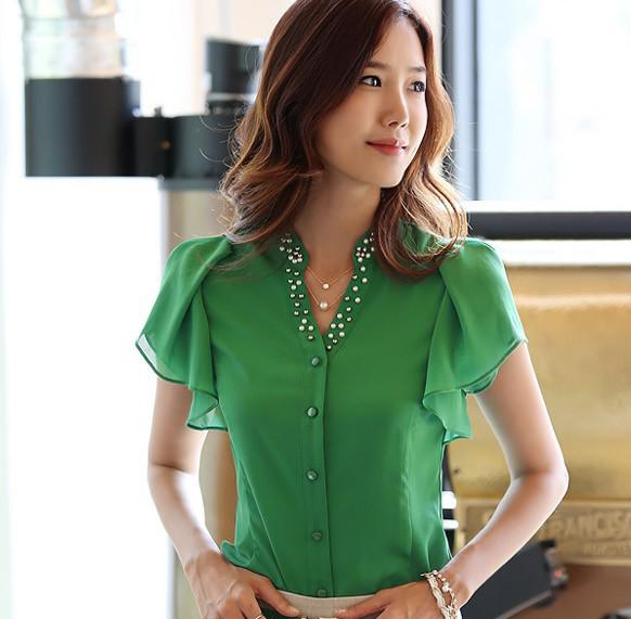1267525f469 2019 Fashion Blouses Ladies  Blouses Chiffon Blouses Short Sleeve Blouse  Green White Blue Blouses Fashion Women Tops Sexy Ladies Tops Lady Top From  ...