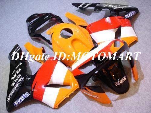 Carenagem moldada por injeção personalizada para CBR600RR 03 04 CBR 600RR 2003 2004 CBR 600F5 03 04 Carimbos vermelhos amarelos