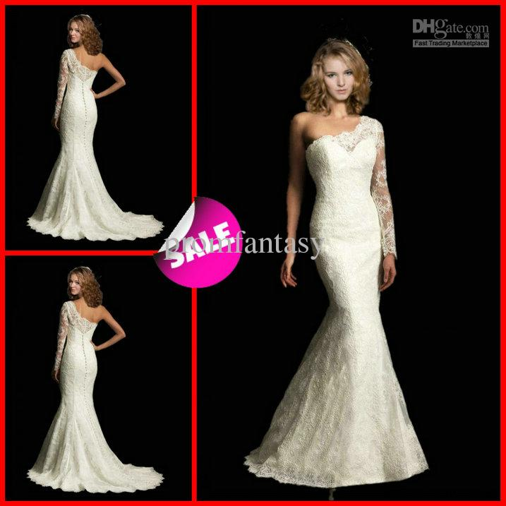 One Shoulder Sleeve Wedding Dresses