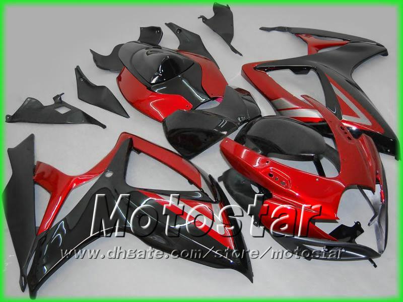 100% Fit Injeciton Golding Black + Red Fairing Body Kit för GSXR 600 750 K6 GSXR600 GSXR750 06 07 R600 R750 2006 2007 + Vindren