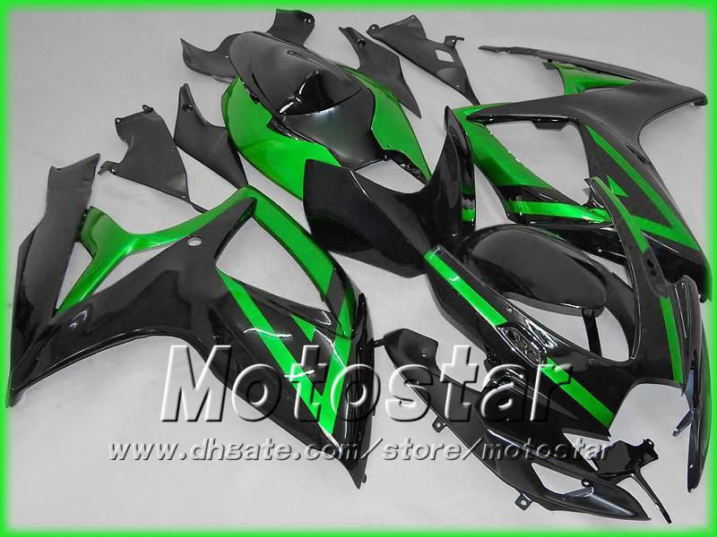 Black Green Motorcycle Fairings för Suzuki 2006 2007 GSXR 600 750 K6 GSXR600 GSXR750 06 07 R600 R750 2006-2007 Full Fairing Kit