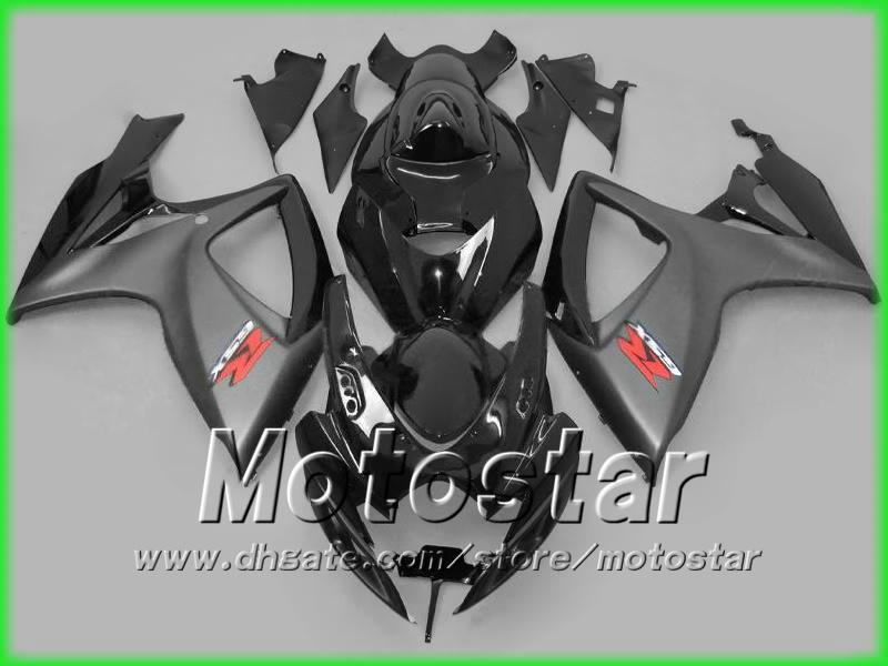 Flat Black glossy black injection molded fairing for suzuki 2006 2007 GSXR 600 750 K6 GSXR600 GSXR750 06 07 R600 R750 full fairing kit