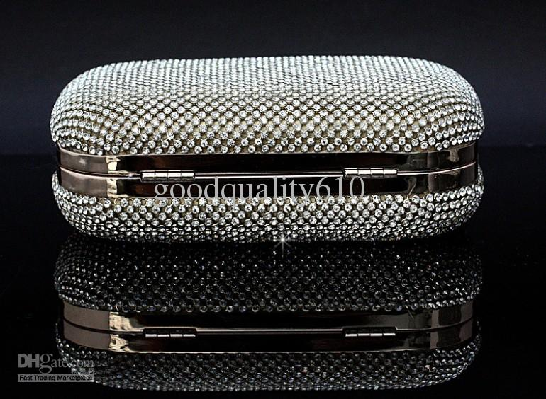 Borse di banchetto di sera della borsa della borsa della borsa della borsa del diamante di Rhinestone dell'arco del raso delle donne perfette fatte a mano
