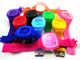 Wholesale Square Jelly - Hot Fashion Square Jelly Watch Unisex Quartz Sports Silicone Wrist Watches Candy SS.com 12 Colors Free Shipping