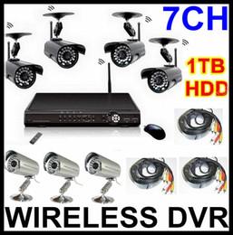 Wholesale Dvr Camera Kits - 7CH Wireless Camera DVR System H.264 CCTV Security Kits 1TB Hard Drive TOP Quality DVR Recorder 7 Cameras (4 Wireless+3 wired) Network