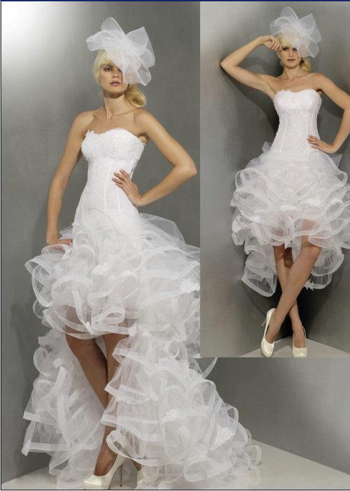 Großhandel Strapless Kurz Vorne Lang Hinten Brautkleid 2013 Applique ...