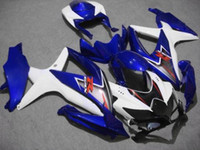 ingrosso kit abs per moto-Kit carena ABS bianco blu per Suzuki GSXR 600 750 2008 2009 K8 GSXR600 GSXR750 08 09 10 GSX-R750 Set carene GSX-R600 per motocicli