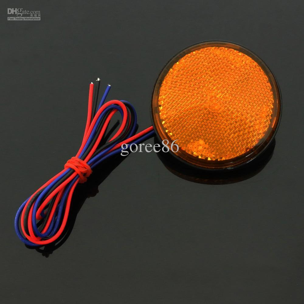 2 * Amber LED Reflectors Round Turn Signal Light universale per auto da moto