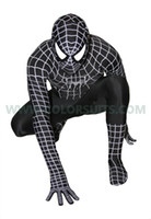 ingrosso vestito nero dello zidale dello spiderman-HOT Lycra Spandex costume zentai nero Spider hero Spiderman party suit