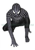 Wholesale Ethnic Costumes - HOT Lycra Spandex zentai costume black Spider hero Spiderman party suit