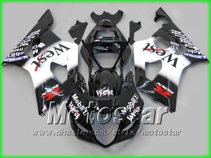 スズキ2003 2004 GSXR 1000 03 04フルオートバイのフェアリゾートのためのロードレーシングブラックウェストオートバイフェアリングキット