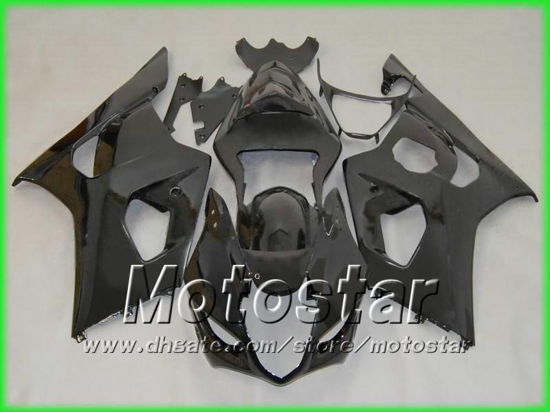 スズキ2003 2004 GSXR 1000 03 04フェアリング5ギフトのためのすべての光沢のある黒ボディワークフェアリングキット