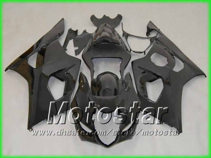 Alla Glossy Black Bodywork Fairing Kit för Suzuki 2003 2004 GSX-R1000 K3 GSXR1000 GSXR 1000 03 04 Fays 5 Presenter