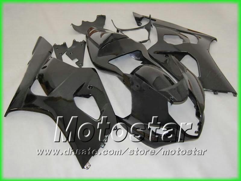 WSZYSTKIE Błyszczące Czarne Korektyzm Bodywork Zestaw do SUZUKI 2003 2004 GSX-R1000 K3 GSXR1000 GSXR 1000 03 04 Goryning 5 Gifts